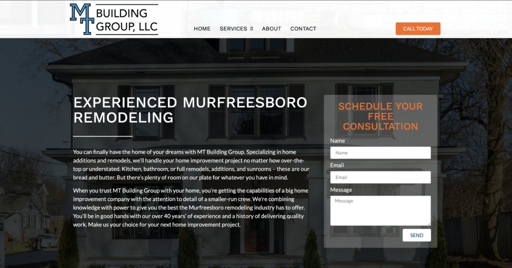 MT Building Group homepage