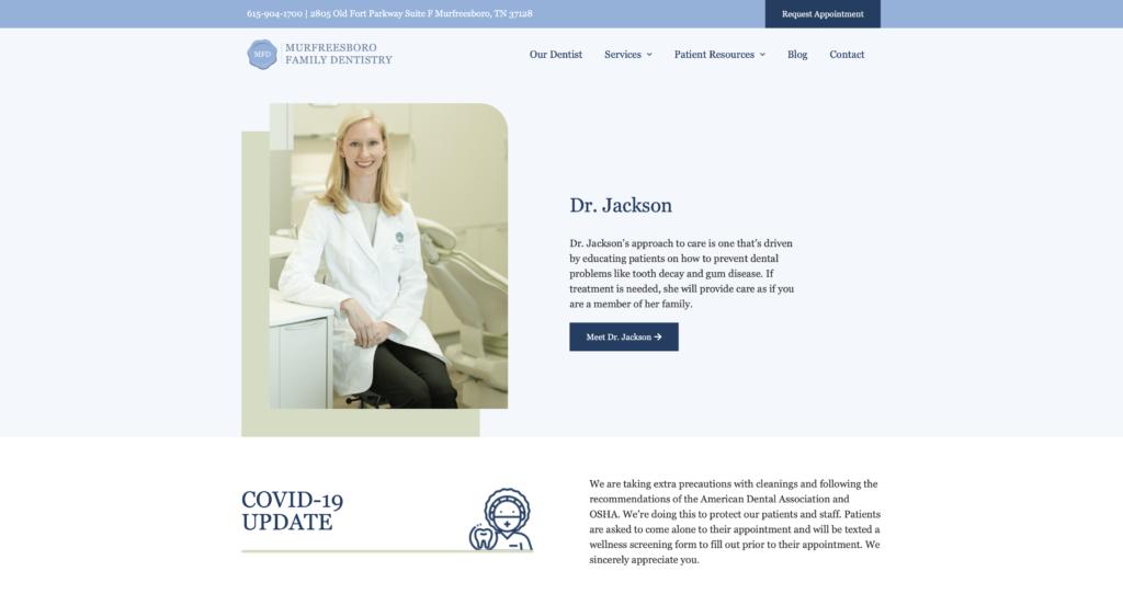 Murfreesboro Family Dentistry homepage